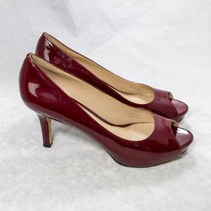 Via Spiga Size 7.5 M Wine Color Peep Toe Heel